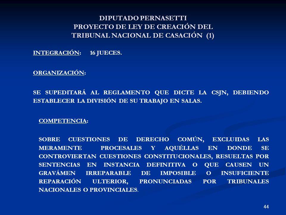 44 DIPUTADO PERNASETTI PROYECTO DE LEY DE CREACIÓN DEL TRIBUNAL NACIONAL DE CASACIÓN (1) INTEGRACIÓN: 16 JUECES. ORGANIZACIÓN: SE SUPEDITARÁ AL REGLAM