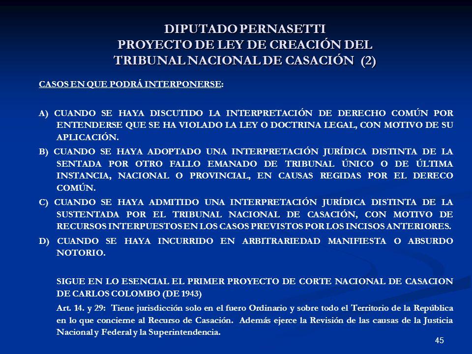 45 DIPUTADO PERNASETTI PROYECTO DE LEY DE CREACIÓN DEL TRIBUNAL NACIONAL DE CASACIÓN (2) CASOS EN QUE PODRÁ INTERPONERSE: A) CUANDO SE HAYA DISCUTIDO