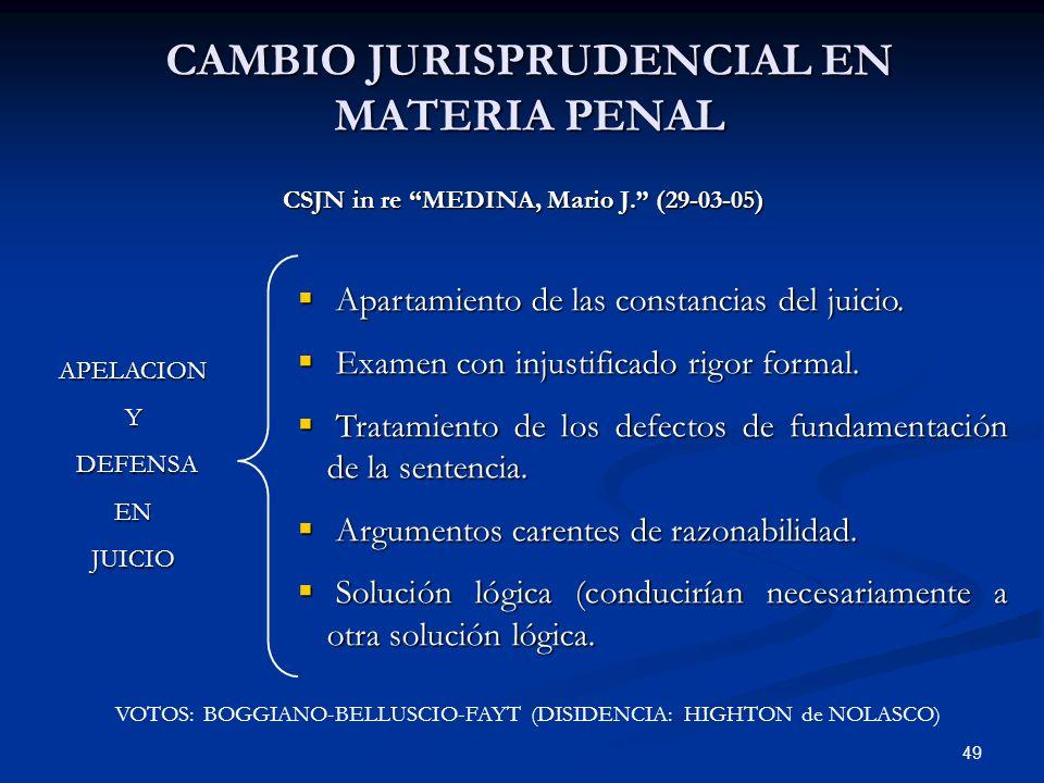 49 CAMBIO JURISPRUDENCIAL EN MATERIA PENAL CSJN in re MEDINA, Mario J. (29-03-05) Apartamiento de las constancias del juicio. Apartamiento de las cons