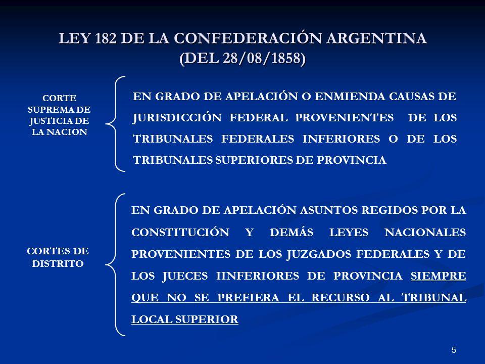 5 LEY 182 DE LA CONFEDERACIÓN ARGENTINA (DEL 28/08/1858) EN GRADO DE APELACIÓN O ENMIENDA CAUSAS DE JURISDICCIÓN FEDERAL PROVENIENTES DE LOS TRIBUNALE