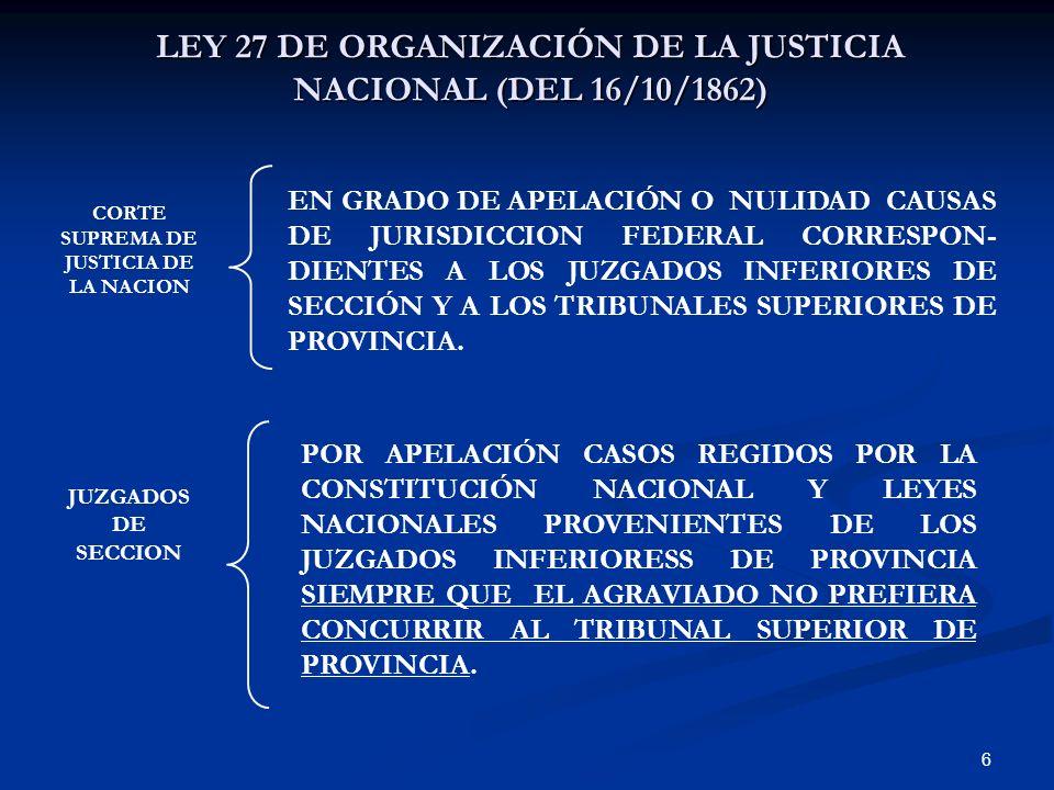 6 LEY 27 DE ORGANIZACIÓN DE LA JUSTICIA NACIONAL (DEL 16/10/1862) CORTE SUPREMA DE JUSTICIA DE LA NACION JUZGADOS DE SECCION EN GRADO DE APELACIÓN O N