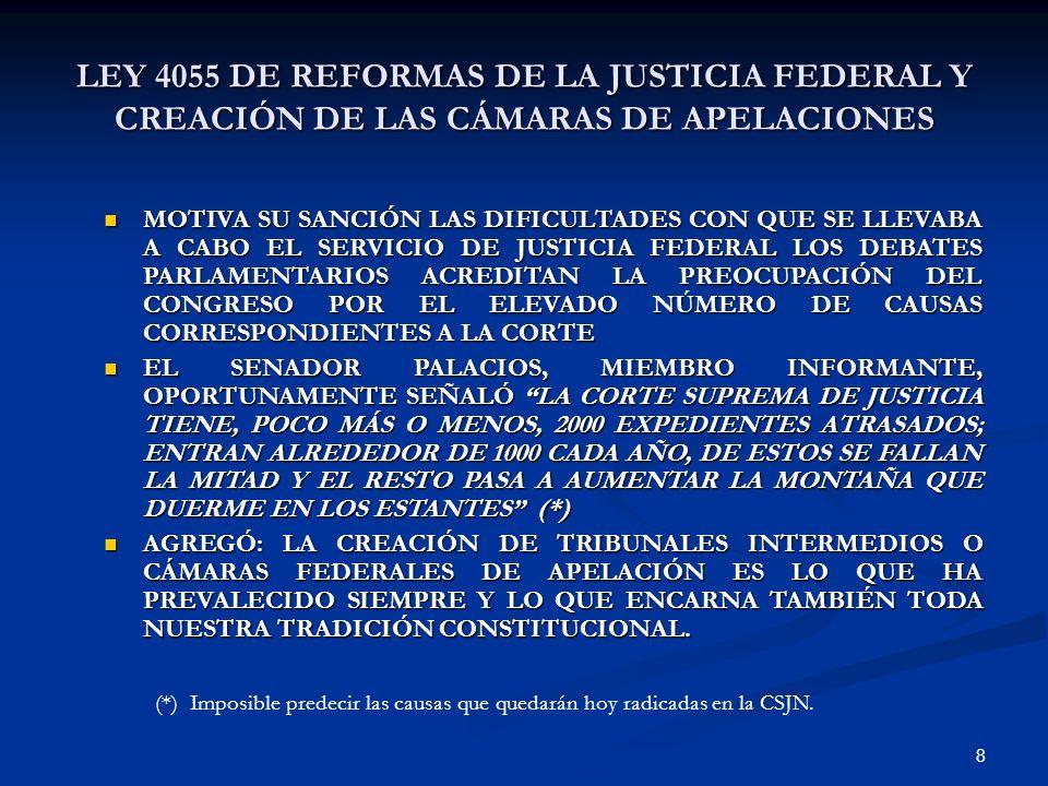 8 LEY 4055 DE REFORMAS DE LA JUSTICIA FEDERAL Y CREACIÓN DE LAS CÁMARAS DE APELACIONES MOTIVA SU SANCIÓN LAS DIFICULTADES CON QUE SE LLEVABA A CABO EL
