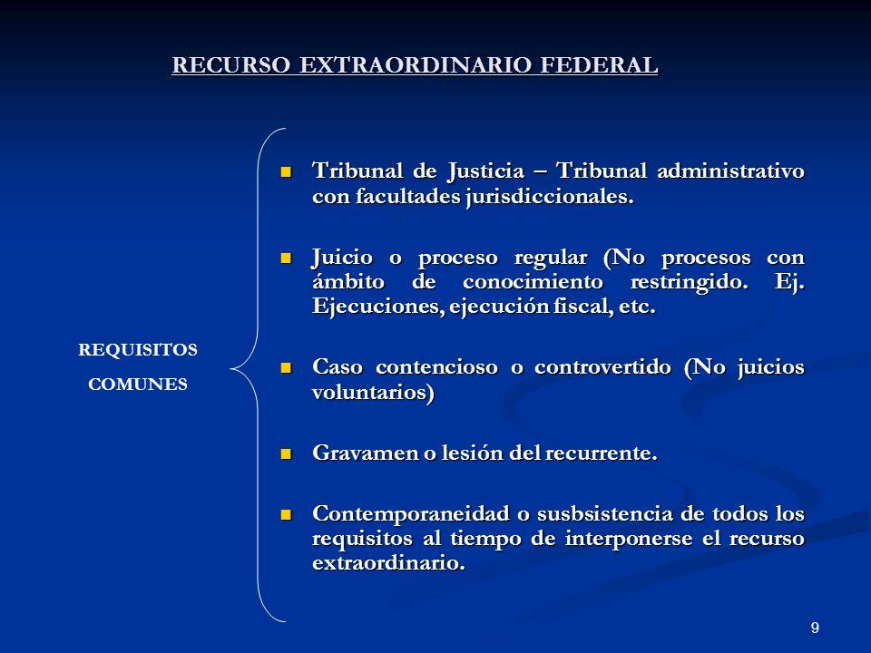 9 RECURSO EXTRAORDINARIO FEDERAL Tribunal de Justicia – Tribunal administrativo con facultades jurisdiccionales. Tribunal de Justicia – Tribunal admin