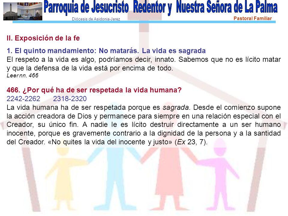 Diócesis de Asidonia-Jerez Pastoral Familiar II.Exposición de la fe 1.
