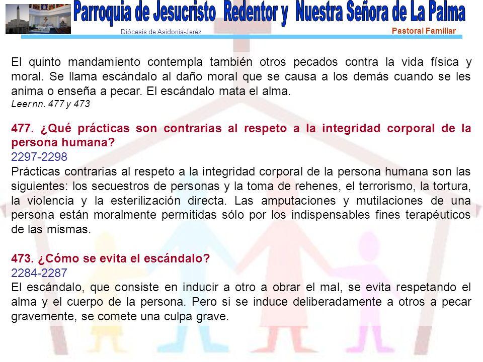 Diócesis de Asidonia-Jerez Pastoral Familiar Recordar Los cuatro pecados contra la vida.