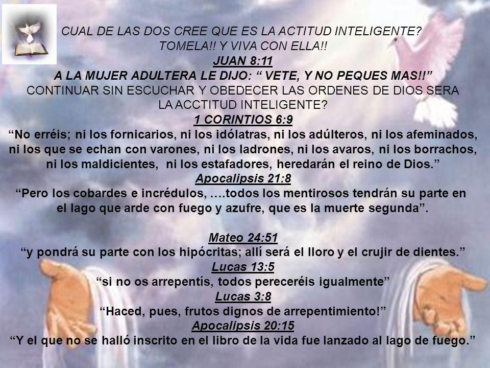 CUAL DE LAS DOS CREE QUE ES LA ACTITUD INTELIGENTE? TOMELA!! Y VIVA CON ELLA!! JUAN 8:11 A LA MUJER ADULTERA LE DIJO: VETE, Y NO PEQUES MAS!! CONTINUA