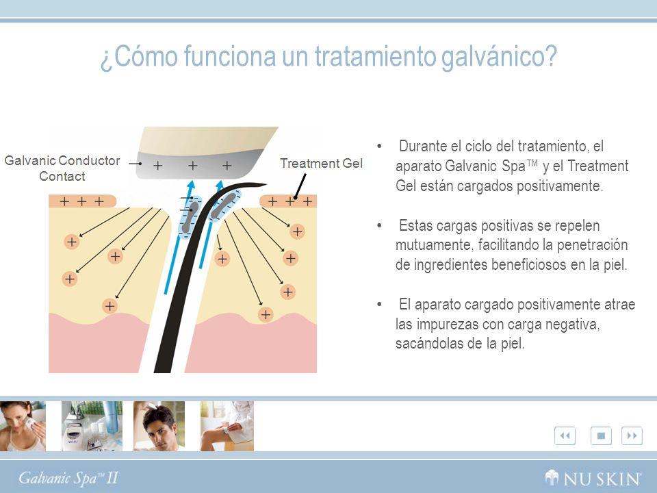 Durante el ciclo del tratamiento, el aparato Galvanic Spa y el Treatment Gel están cargados positivamente.