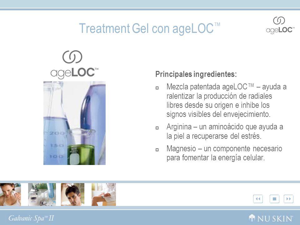 Treatment Gel con ageLOC Principales ingredientes: Mezcla patentada ageLOC – ayuda a ralentizar la producción de radiales libres desde su origen e inhibe los signos visibles del envejecimiento.