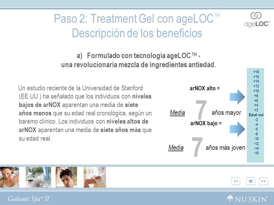 Paso 2: Treatment Gel con ageLOC Descripción de los beneficios a) Formulado con tecnología ageLOC - una revolucionaria mezcla de ingredientes antiedad.