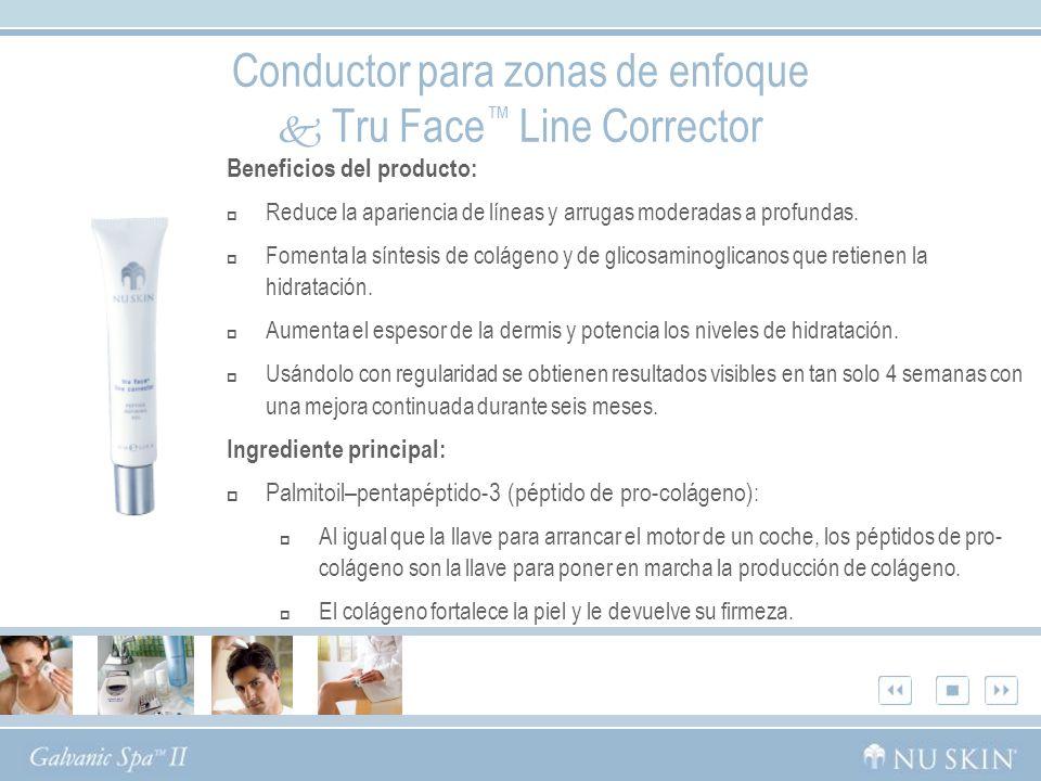 Conductor para zonas de enfoque Tru Face Line Corrector Beneficios del producto: Reduce la apariencia de líneas y arrugas moderadas a profundas.