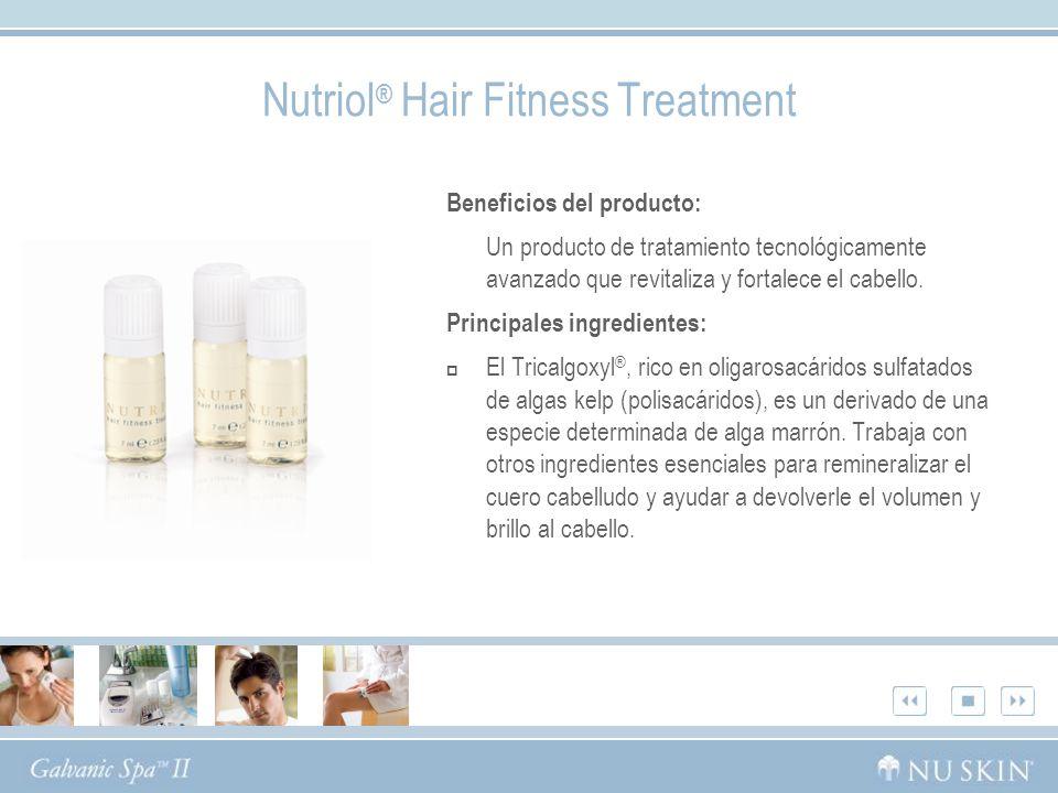 Nutriol ® Hair Fitness Treatment Beneficios del producto: Un producto de tratamiento tecnológicamente avanzado que revitaliza y fortalece el cabello.