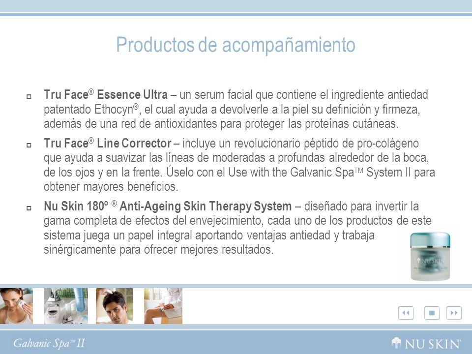 Productos de acompañamiento Tru Face ® Essence Ultra – un serum facial que contiene el ingrediente antiedad patentado Ethocyn ®, el cual ayuda a devolverle a la piel su definición y firmeza, además de una red de antioxidantes para proteger las proteínas cutáneas.