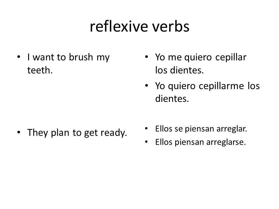 reflexive verbs I want to brush my teeth. They plan to get ready.