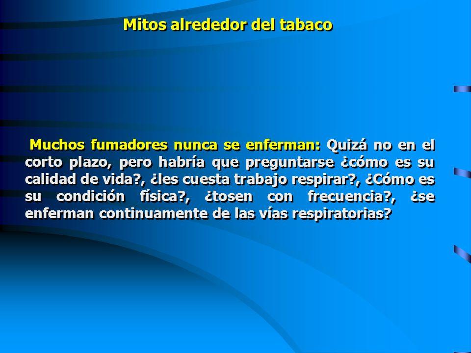 Muchos fumadores nunca se enferman: Quizá no en el corto plazo, pero habría que preguntarse ¿cómo es su calidad de vida?, ¿les cuesta trabajo respirar