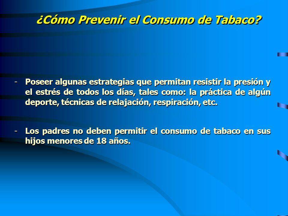 ¿Cómo Prevenir el Consumo de Tabaco? -Poseer algunas estrategias que permitan resistir la presión y el estrés de todos los días, tales como: la prácti