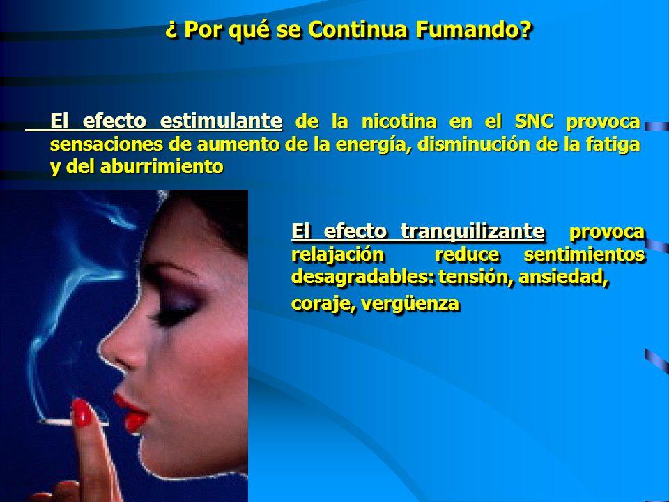 El efecto estimulante de la nicotina en el SNC provoca sensaciones de aumento de la energía, disminución de la fatiga y del aburrimiento ¿ Por qué se