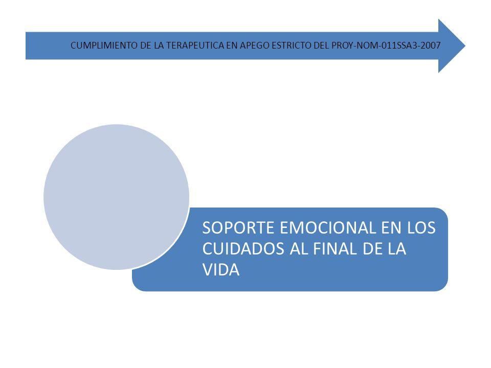 CUMPLIMIENTO DE LA TERAPEUTICA EN APEGO ESTRICTO DEL PROY-NOM-011SSA3-2007 SOPORTE EMOCIONAL EN LOS CUIDADOS AL FINAL DE LA VIDA