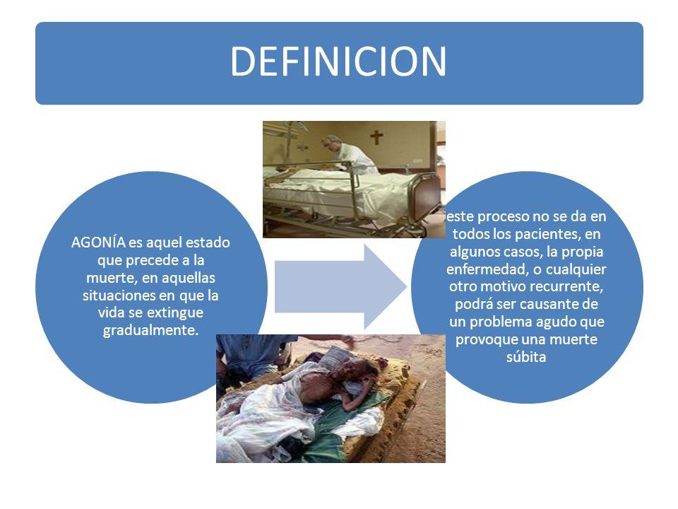 CUIDADOS DE ENFERMERIA EN PACIENTES EN FASE AGONICA Concepto Son los cuidados que se brindan al paciente muy grave, con escasas posibilidades de vivir.