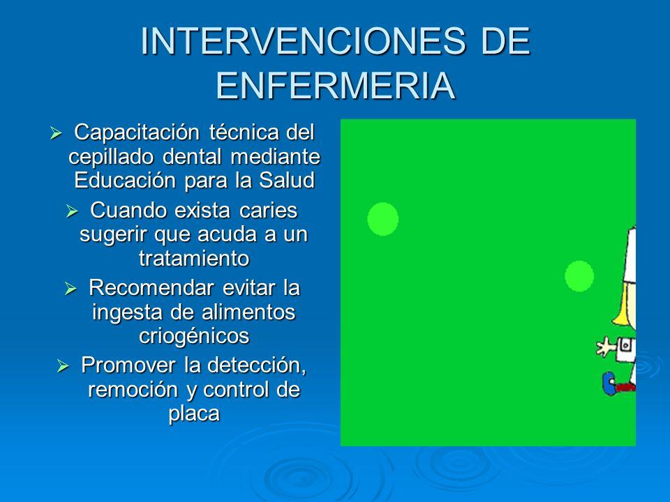 INTERVENCIONES DE ENFERMERIA Capacitación técnica del cepillado dental mediante Educación para la Salud Capacitación técnica del cepillado dental medi