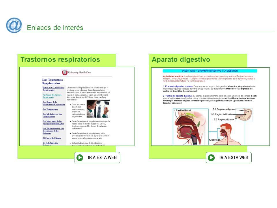 Enlaces de interés Trastornos respiratorios IR A ESTA WEB Aparato digestivo IR A ESTA WEB