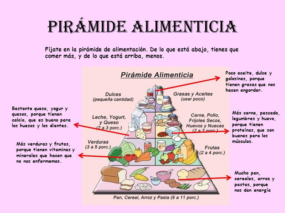 PIRÁMIDE ALIMENTICIA Fíjate en la pirámide de alimentación. De lo que está abajo, tienes que comer más, y de lo que está arriba, menos. Más verduras y
