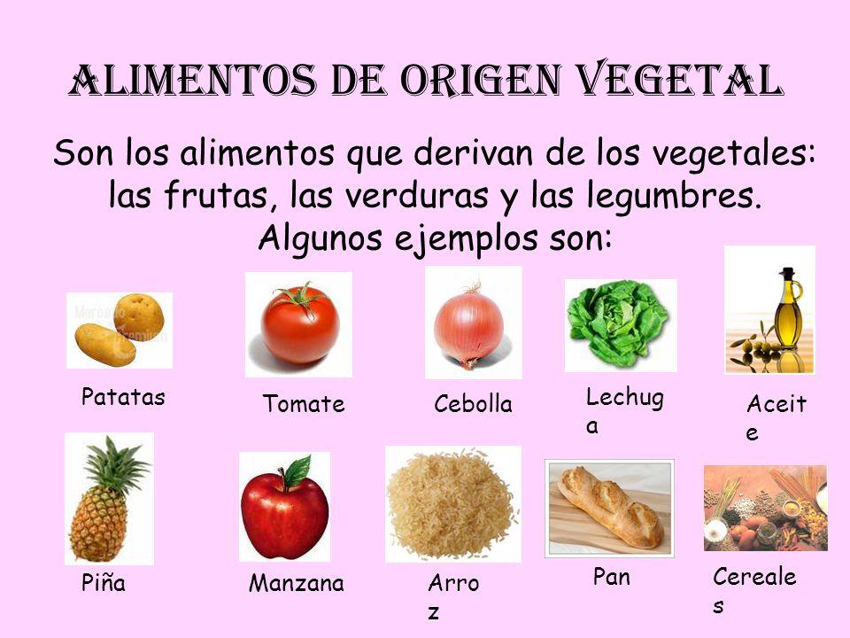 ALIMENTOS DE ORIGEN VEGETAL Son los alimentos que derivan de los