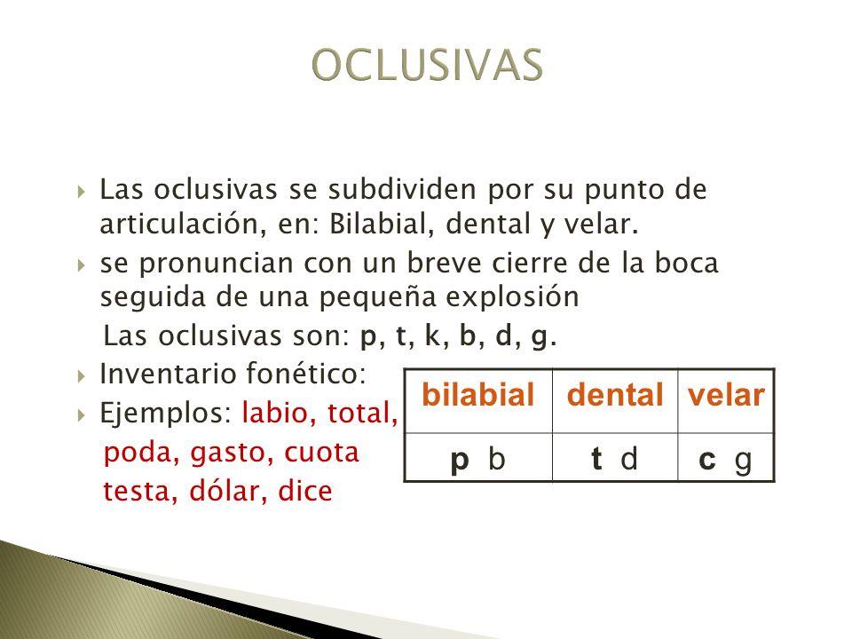 Las oclusivas se subdividen por su punto de articulación, en: Bilabial, dental y velar. se pronuncian con un breve cierre de la boca seguida de una pe