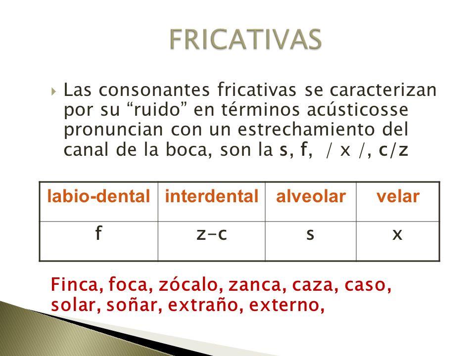 Las consonantes fricativas se caracterizan por su ruido en términos acústicosse pronuncian con un estrechamiento del canal de la boca, son la s, f, /