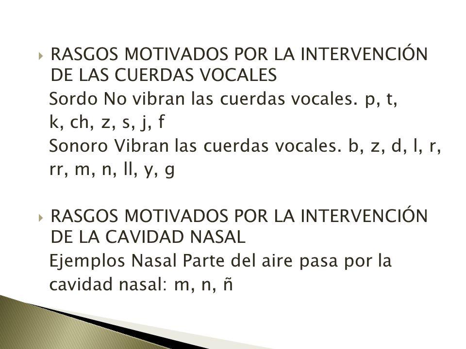 RASGOS MOTIVADOS POR LA INTERVENCIÓN DE LAS CUERDAS VOCALES Sordo No vibran las cuerdas vocales. p, t, k, ch, z, s, j, f Sonoro Vibran las cuerdas voc