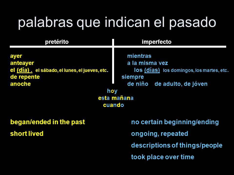 palabras que indican el pasado pretérito imperfecto ayermientras anteayera la misma vez el (día). el sábado, el lunes, el jueves, etc. los (días) los