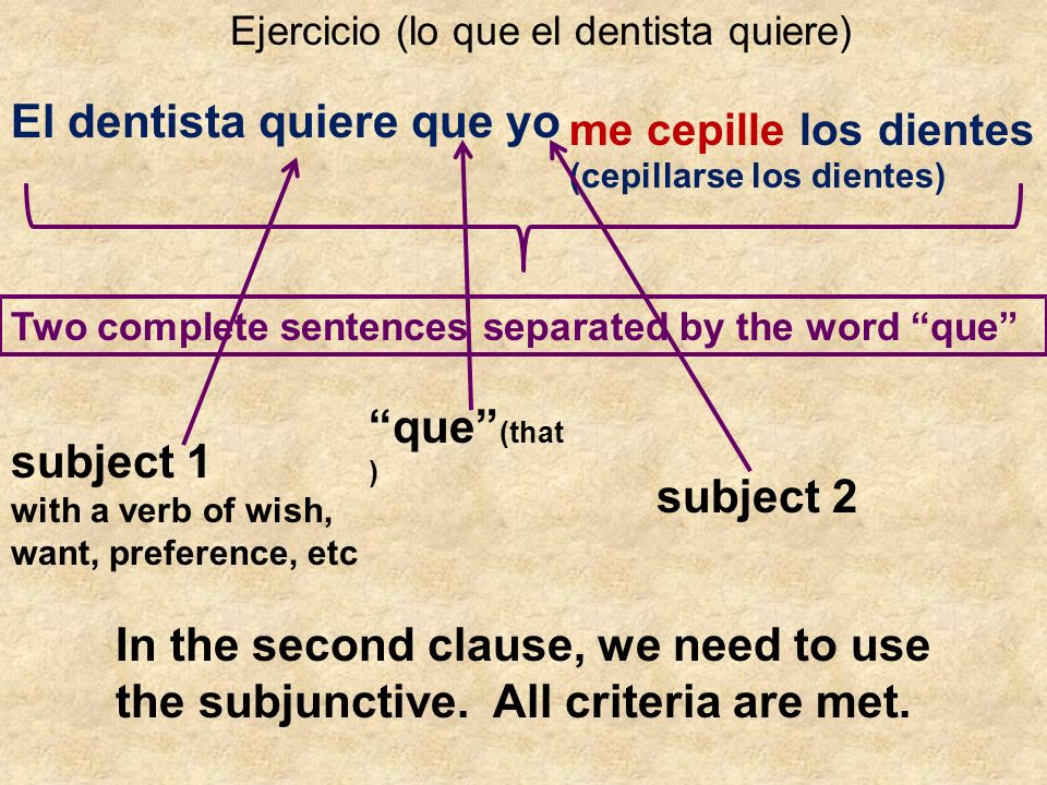 Ejercicio (lo que el dentista quiere) El dentista quiere que yo (cepillarse los dientes) me cepille los dientes Two complete sentences separated by the word que subject 1 with a verb of wish, want, preference, etc que (that ) subject 2 In the second clause, we need to use the subjunctive.