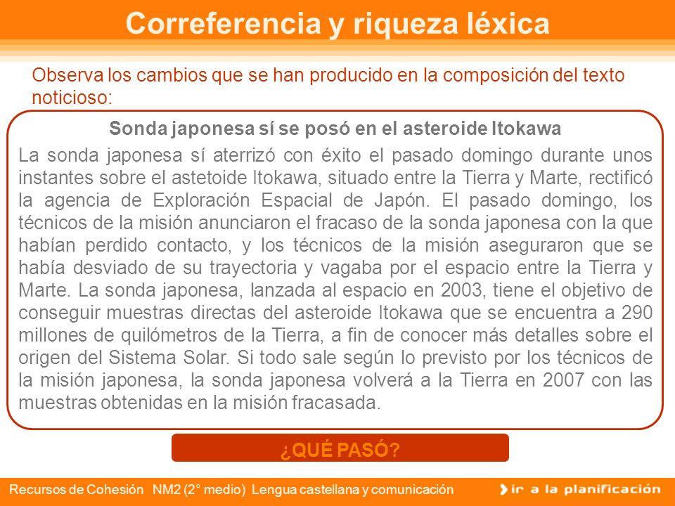 Recursos de Cohesión NM2 (2° medio) Lengua castellana y comunicación Relaciones correferenciales en una noticia Como viste, todas las palabras encerra