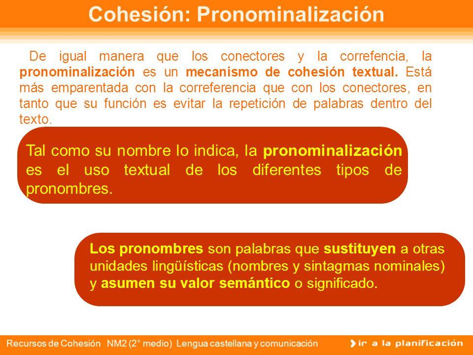 Recursos de Cohesión NM2 (2° medio) Lengua castellana y comunicación Correferencia y riqueza léxica Lo que pasó con el texto de la noticia fue que la