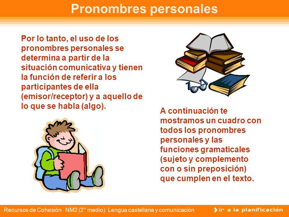 Recursos de Cohesión NM2 (2° medio) Lengua castellana y comunicación Pronombres personales RECEPTOR Los pronombres personales se organizan a partir de