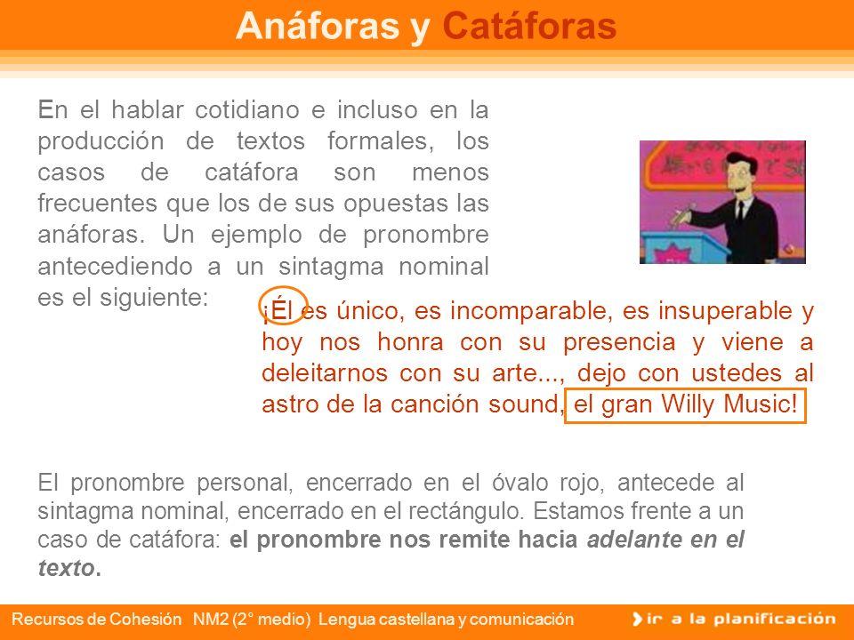 Recursos de Cohesión NM2 (2° medio) Lengua castellana y comunicación Anáforas y Catáforas La anáfora y la catáfora también son mecanismos de la cohesi