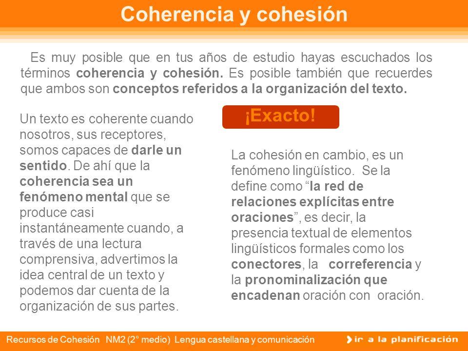 Recursos de Cohesión NM2 (2° medio) Lengua castellana y comunicación ÍNDICE Coherencia y cohesión Cohesión: los conectores Conectores textuales Conect