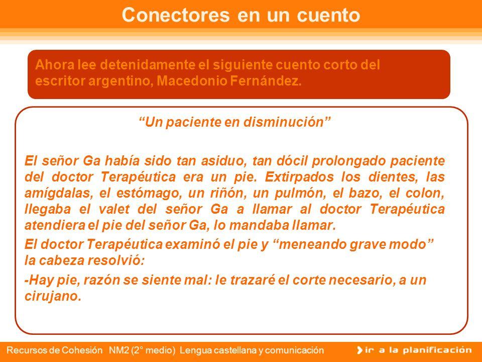 Recursos de Cohesión NM2 (2° medio) Lengua castellana y comunicación Conectores textuales Conectores Relación Semántica Adición Separación o alternati