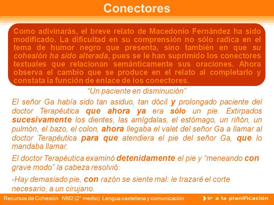 Recursos de Cohesión NM2 (2° medio) Lengua castellana y comunicación Conectores en un cuento Un paciente en disminución El señor Ga había sido tan asi