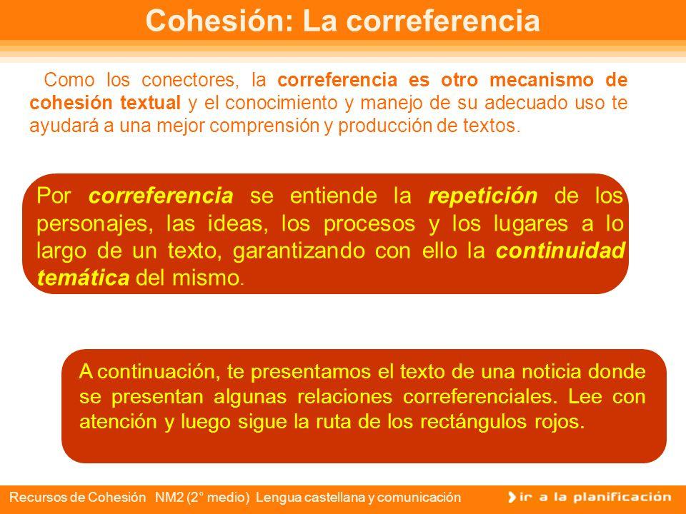 Recursos de Cohesión NM2 (2° medio) Lengua castellana y comunicación Conectores El uso de los conectores tiene como uno de sus objetivos facilitar el