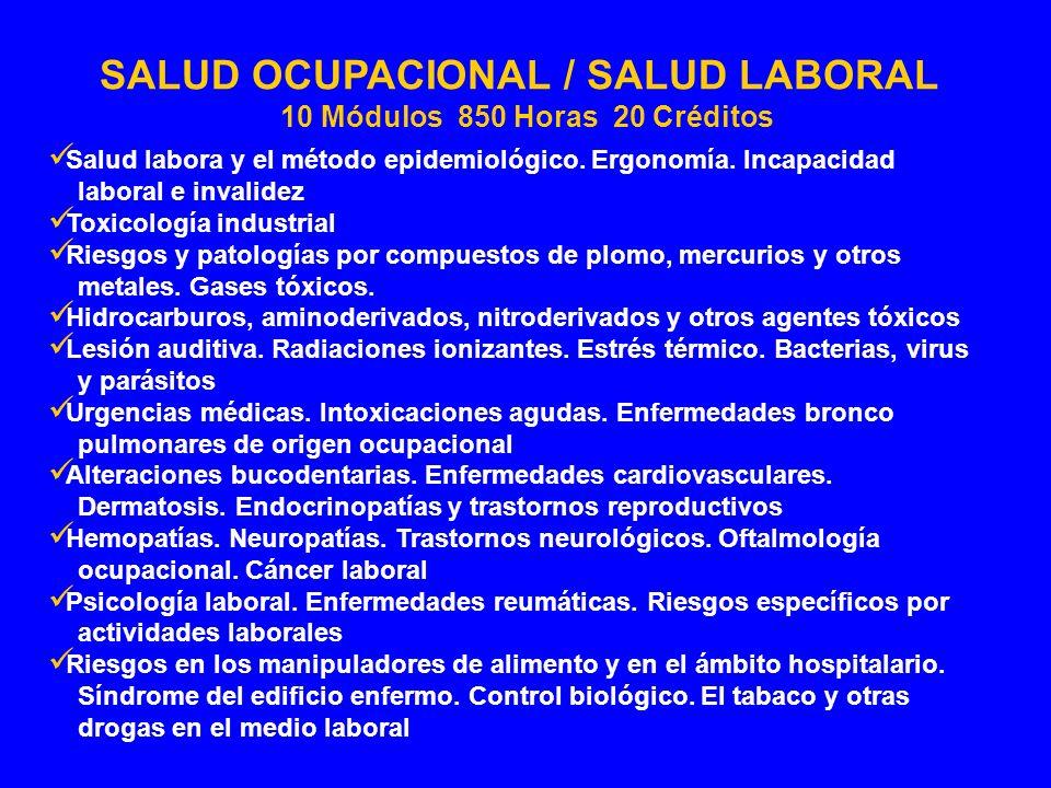 Salud labora y el método epidemiológico. Ergonomía. Incapacidad laboral e invalidez Toxicología industrial Riesgos y patologías por compuestos de plom