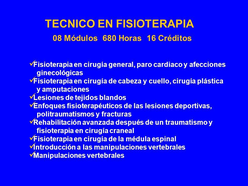 Fisioterapia en cirugía general, paro cardiaco y afecciones ginecológicas Fisioterapia en cirugía de cabeza y cuello, cirugía plástica y amputaciones