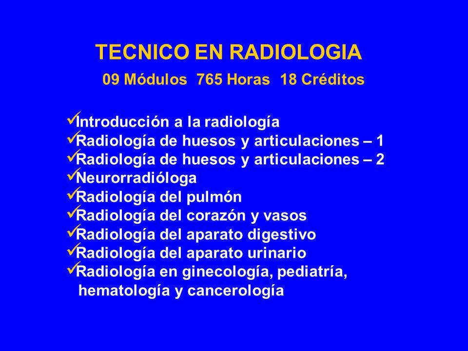 Introducción a la radiología Radiología de huesos y articulaciones – 1 Radiología de huesos y articulaciones – 2 Neurorradióloga Radiología del pulmón