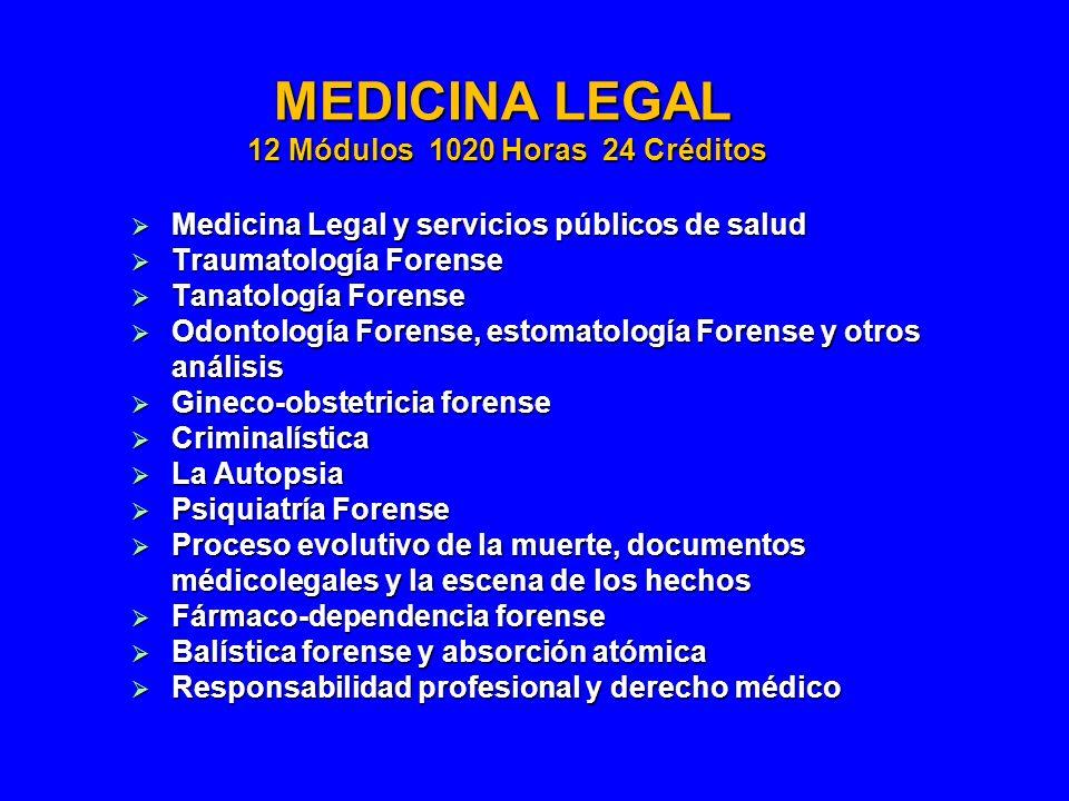 MEDICINA LEGAL 12 Módulos 1020 Horas 24 Créditos Medicina Legal y servicios públicos de salud Medicina Legal y servicios públicos de salud Traumatolog