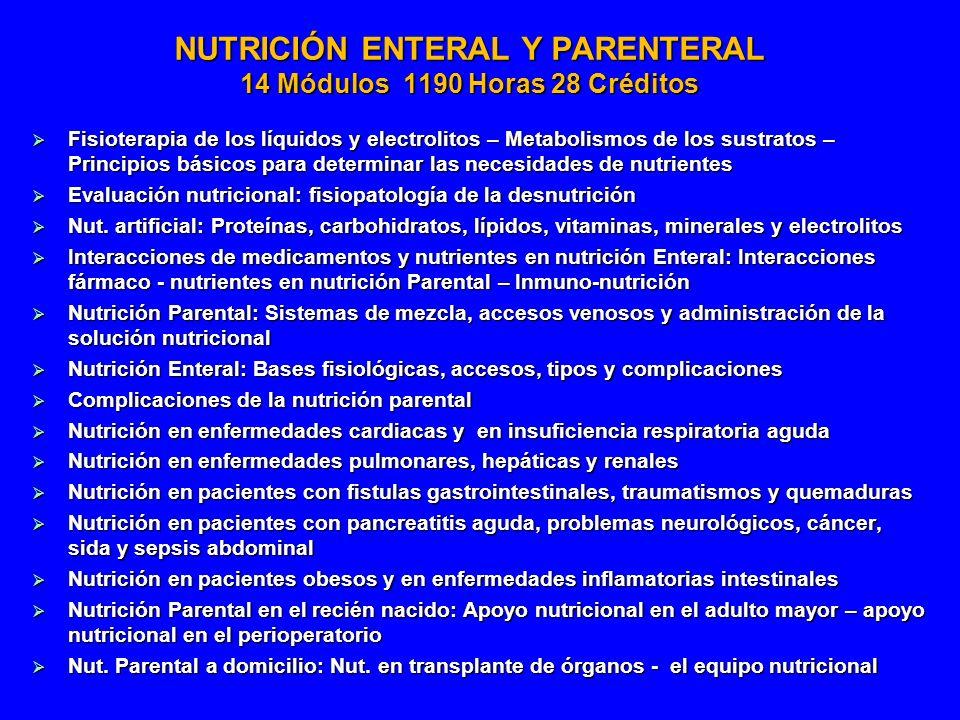 NUTRICIÓN ENTERAL Y PARENTERAL 14 Módulos 1190 Horas 28 Créditos Fisioterapia de los líquidos y electrolitos – Metabolismos de los sustratos – Princip