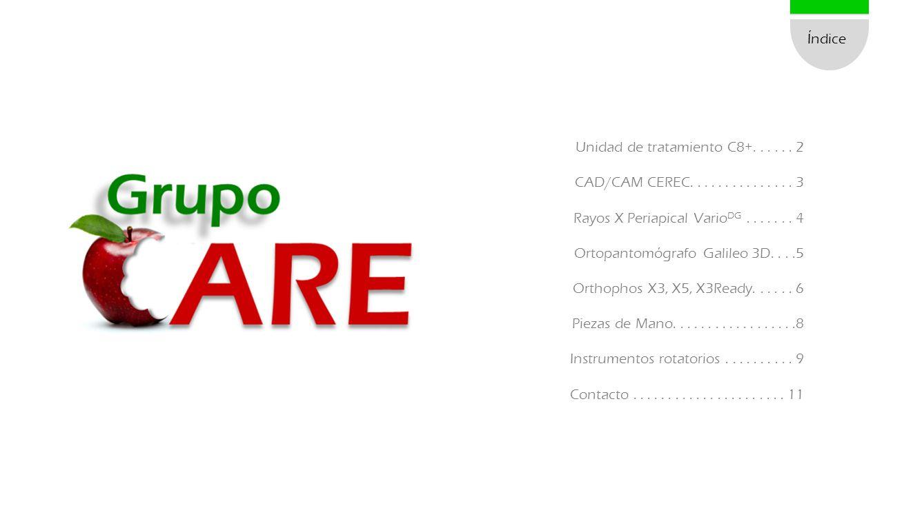 Índice Unidad de tratamiento C8+...... 2 CAD/CAM CEREC............... 3 Rayos X Periapical Vario DG....... 4 Ortopantomógrafo Galileo 3D....5 Orthopho