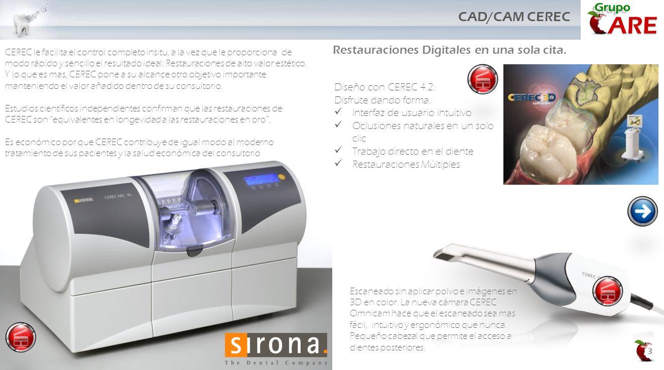 3 CAD/CAM CEREC CEREC le facilita el control completo insitu, a la vez que le proporciona de modo rápido y sencillo el resultado ideal: Restauraciones