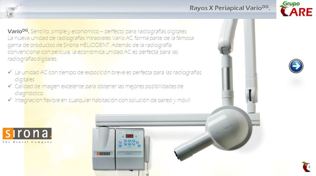4 Rayos X Periapical Vario DG. Vario DG. Sencillo, simple y económico – perfecto para radiografías digitales La nueva unidad de radiografías intraoral
