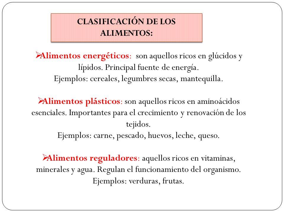 CLASIFICACIÓN DE LOS ALIMENTOS: Alimentos energéticos: son aquellos ricos en glúcidos y lípidos. Principal fuente de energía. Ejemplos: cereales, legu