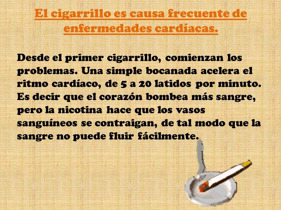 El cigarrillo es causa frecuente de enfermedades cardíacas. Desde el primer cigarrillo, comienzan los problemas. Una simple bocanada acelera el ritmo