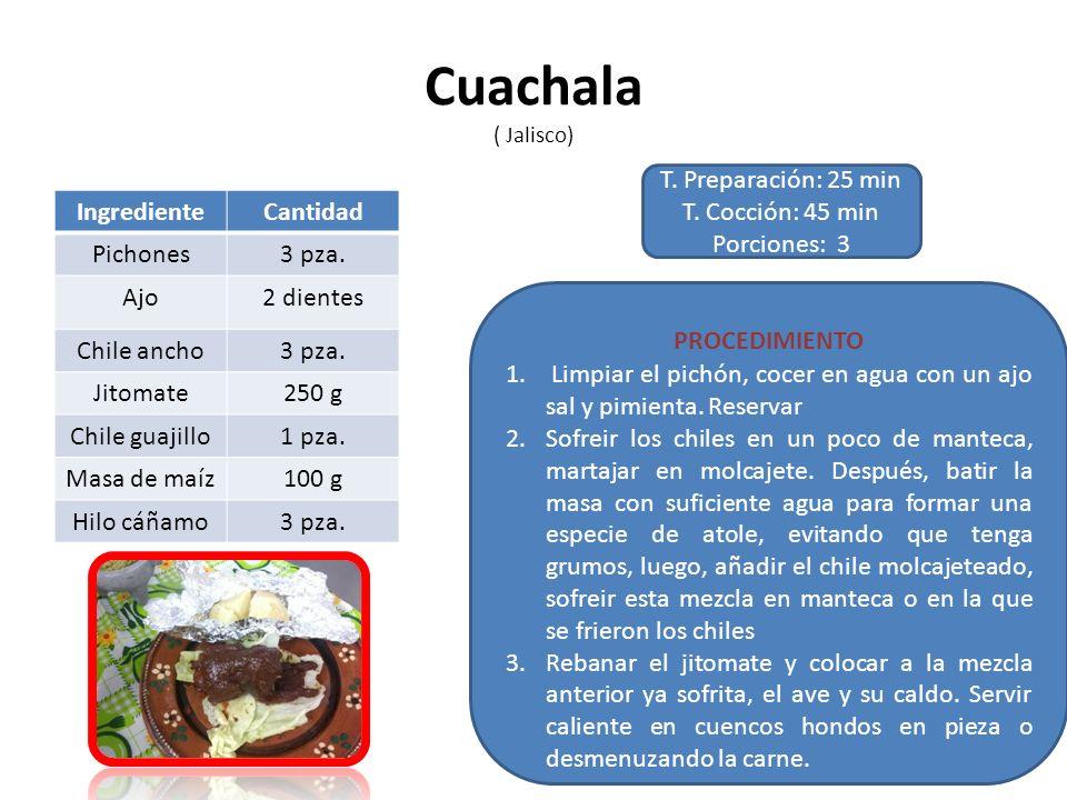 Cuachala ( Jalisco) T. Preparación: 25 min T. Cocción: 45 min Porciones: 3 PROCEDIMIENTO 1. Limpiar el pichón, cocer en agua con un ajo sal y pimienta